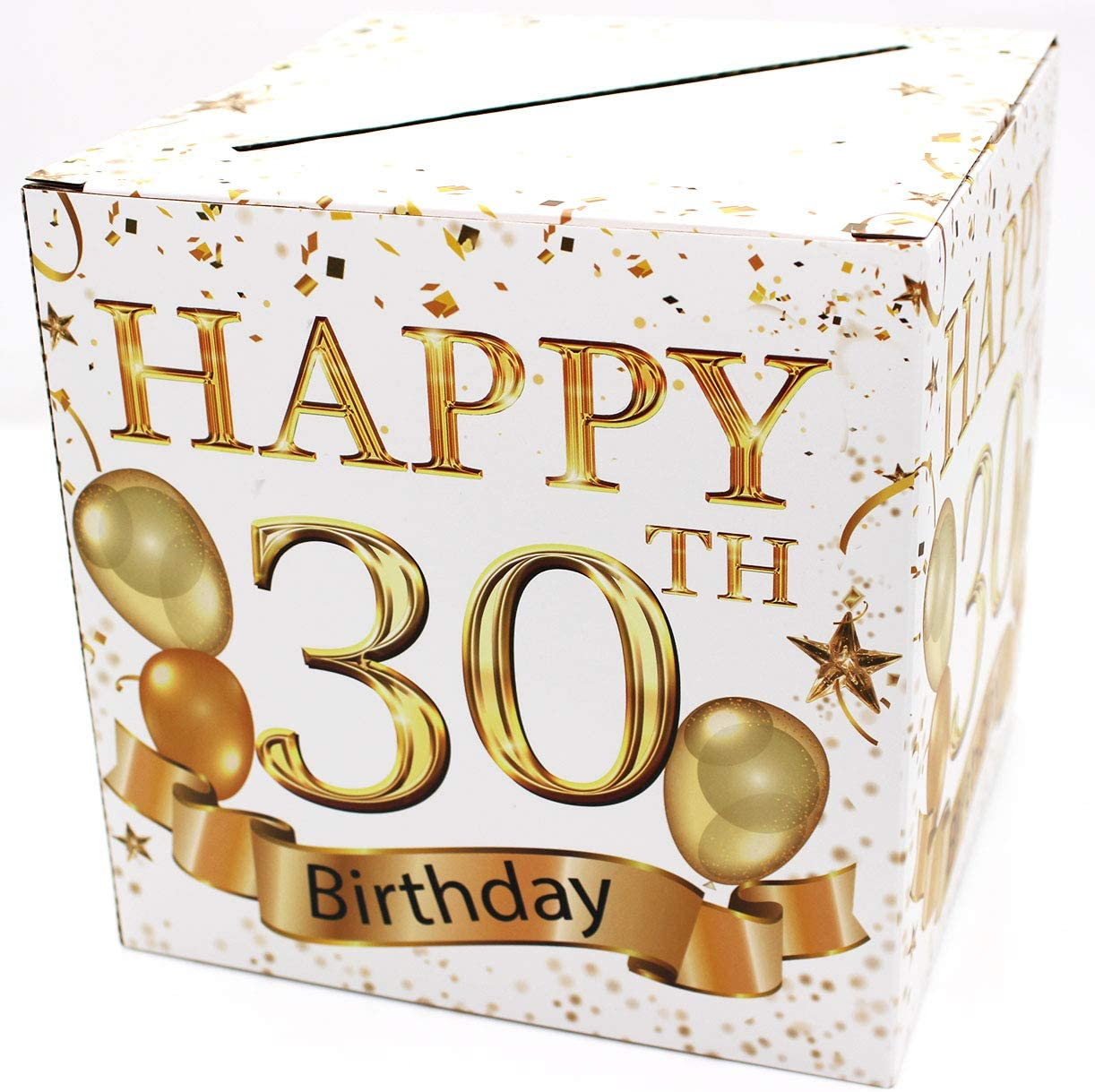 Buildinest 30th Birthday Party Decorations Box – Cheers to 30 Years, 30 Birthday Party Supplies – 1 Set(Box-30-WHT)