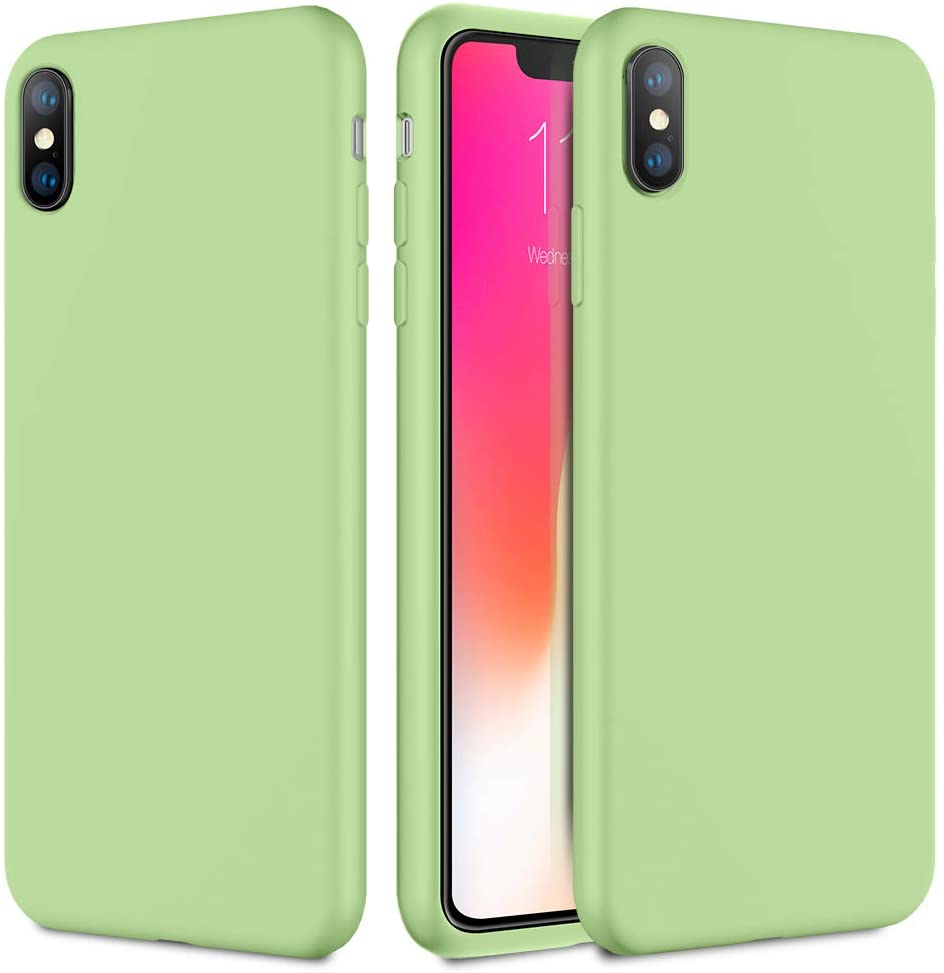 Caka iPhone Xs Case, iPhone Xs Silicone Case Gel Rubber for Girls Women Soft Slim Girly Microfiber Cloth Lining Cushion Protective Case for iPhone Xs (Mint)