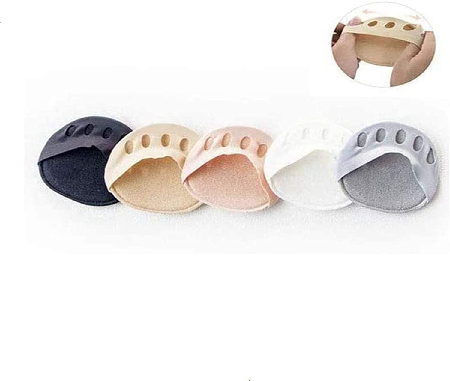 5 Pairs Honeycomb Fabric Forefoot Pads,Soft Meta Bone Pad Non-Slip Invisible Half Toe Pad for Unisex,5 Colors