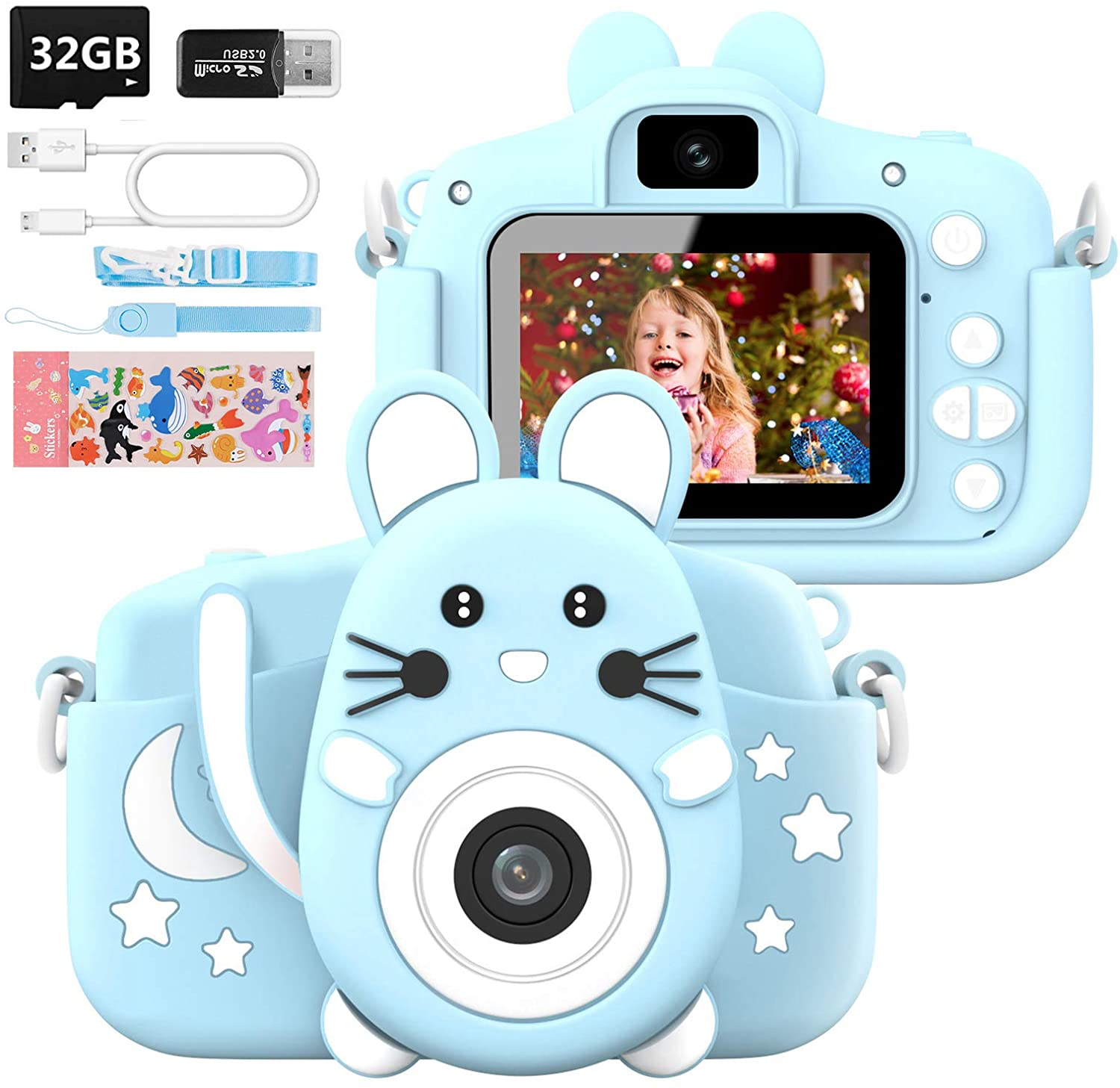 HANGRUI Kids Camera for 3-10 Years Old Boys and Girls, 20.0MP Digital Dual Camera with 2.0 Inch IPS Screen 1080P Video Camcorder Anti-Drop Children Cartoon Selfie Camera Toy for Gift with 32GB SD Card