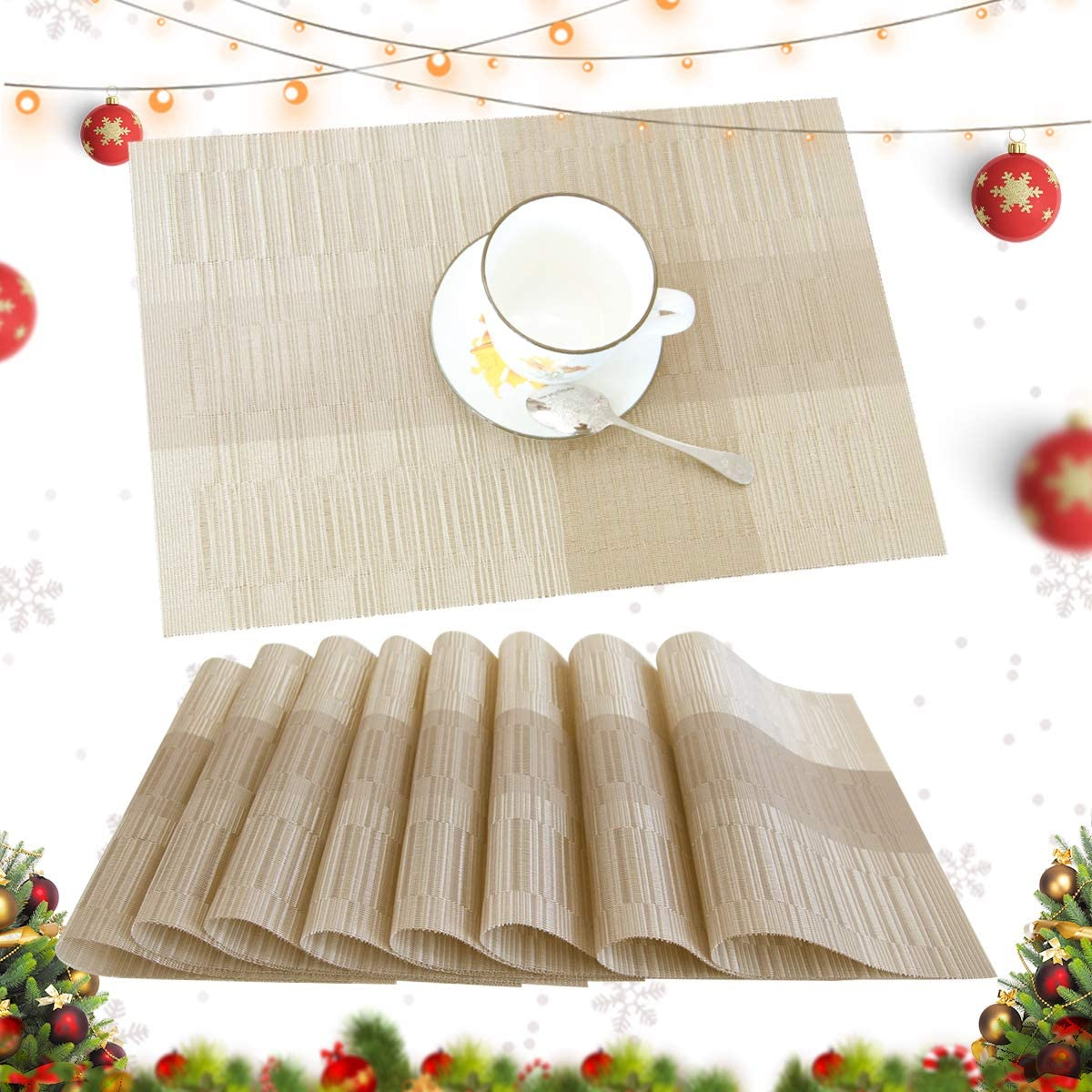 profurni Placemats for Dining Table Heat Resistant Kitchen Table Mats Set of 8 Washable PVC Place Mats Stain Resistant Non-Slip Placemat for Hotel Office,Khaki Gold