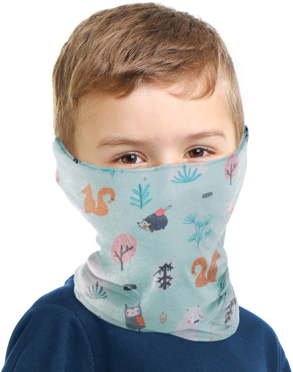 Kids Neck Gaiter Bandana Face Mask - Childs Full Face Cover & Tube Scarf Covering - UPF 30 Balaclava for UV, Dust Protection