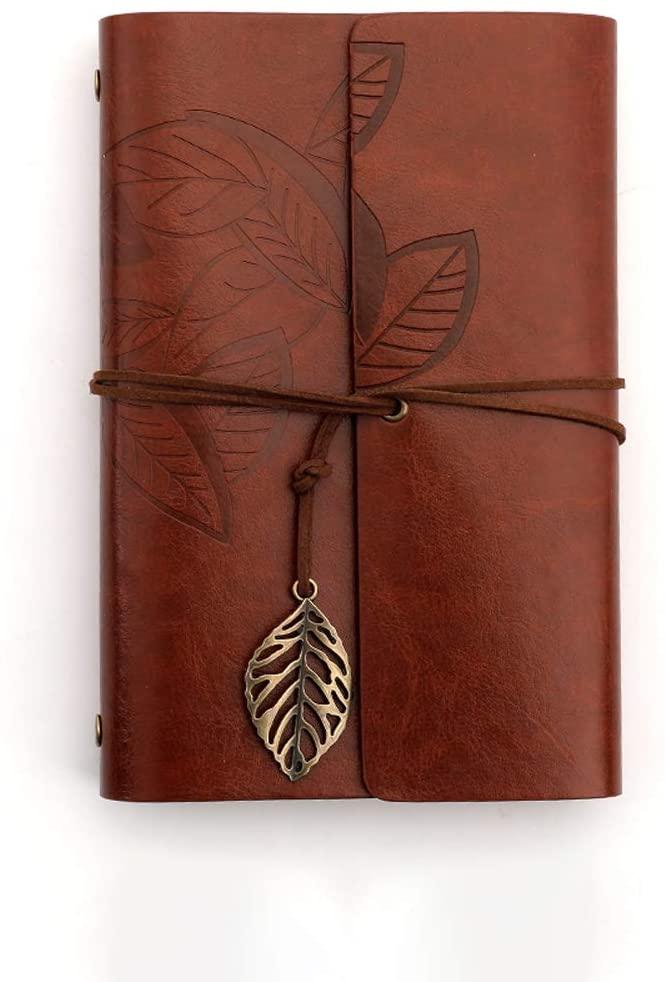 Leather Notebook Vintage Kraft Paper Notepad Vintage Leaf Pattern Retro Pendants, Classic Embossed Travel Diary & Notepad