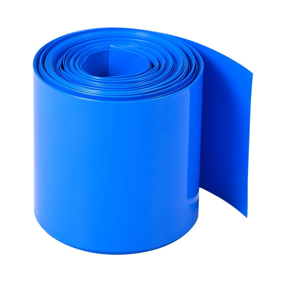 Othmro 50mm Flat Width 5m Length PVC Heat Shrink Tubing Blue for 2×18650 Batteries