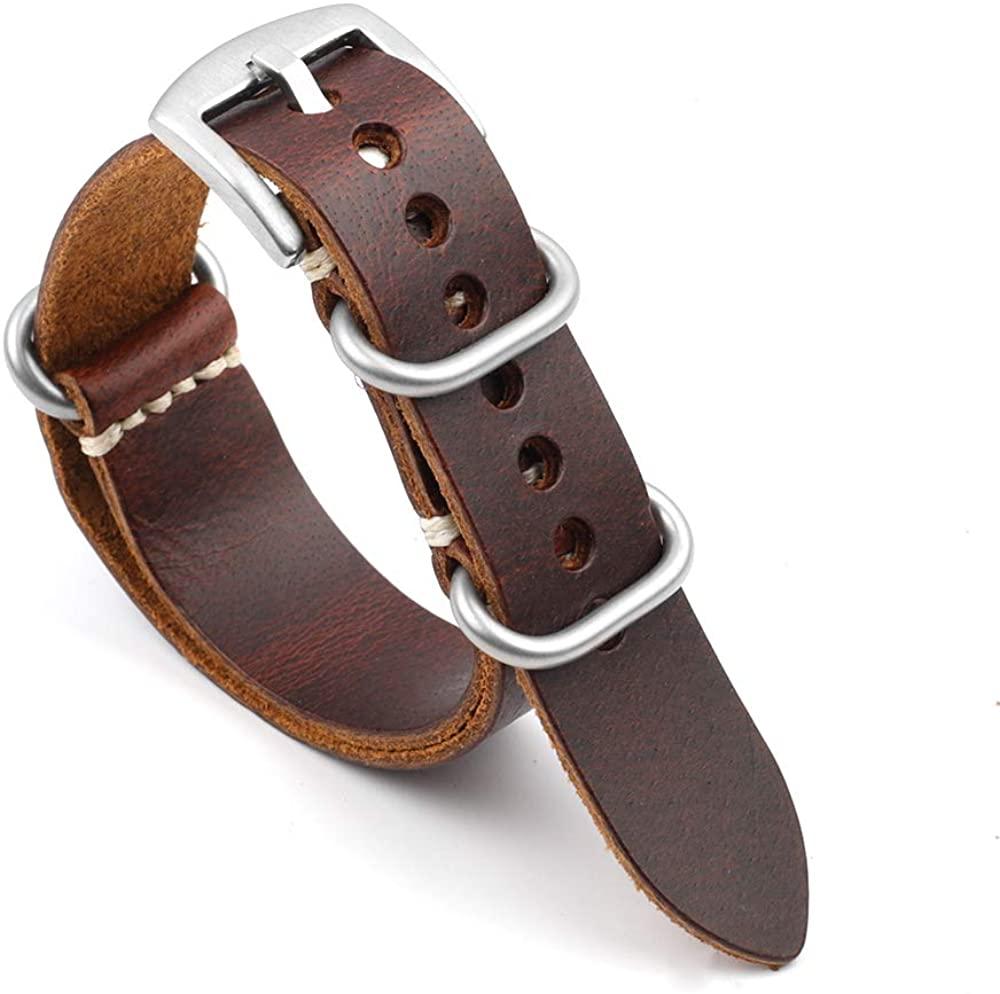 Onthelevel Distressed Design ZULU Handmade Leather Watch Strap 20mm 22mm 24mm