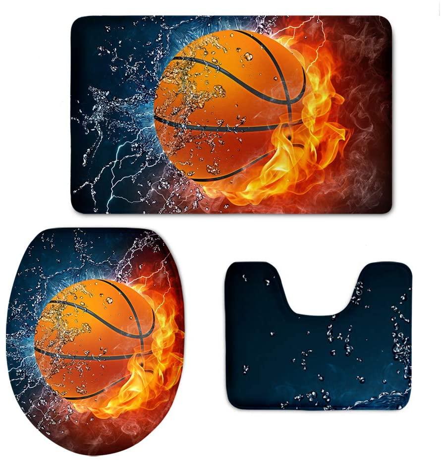 Buybai Bath Mat,Fire Fire&Water Basketball Bathroom Carpet Rug Non-Slip 3 Pcs Bathroom Mat Set