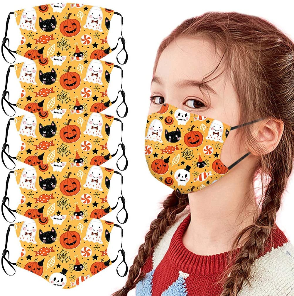 Ecnobia 5 Pack Reusable and Breathable Face ṁɑşḱ, Protection, Face Bandanas with Halloween Theme, Comfortable Adjustable Ear Loop, Indoors and Outdoors, Anti-Haze Dust, for Kids