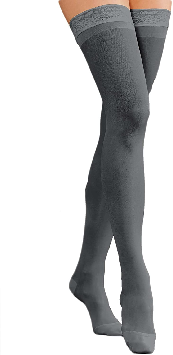 National Compression Support Thigh High, Soft Black, Large, 2-pk - Firm