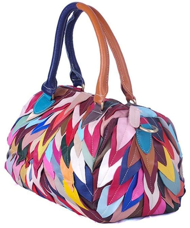 Genuine Leather Handbag for Women, Ladies Top-handle Tote Crossbody Shoulder Bag with Long Strap Detachable