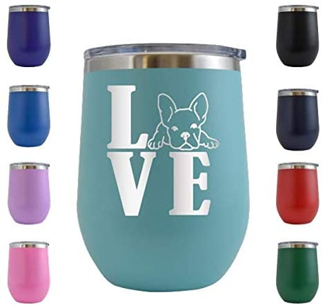 Love Frenchie - Engraved 12 oz Stemless Wine Tumbler Cup Glass Etched - Funny Birthday Gift Ideas for him, her, mom, dad, husband, wife French Bulldog Frenchie Dog Puppy (Teal - 12 oz)