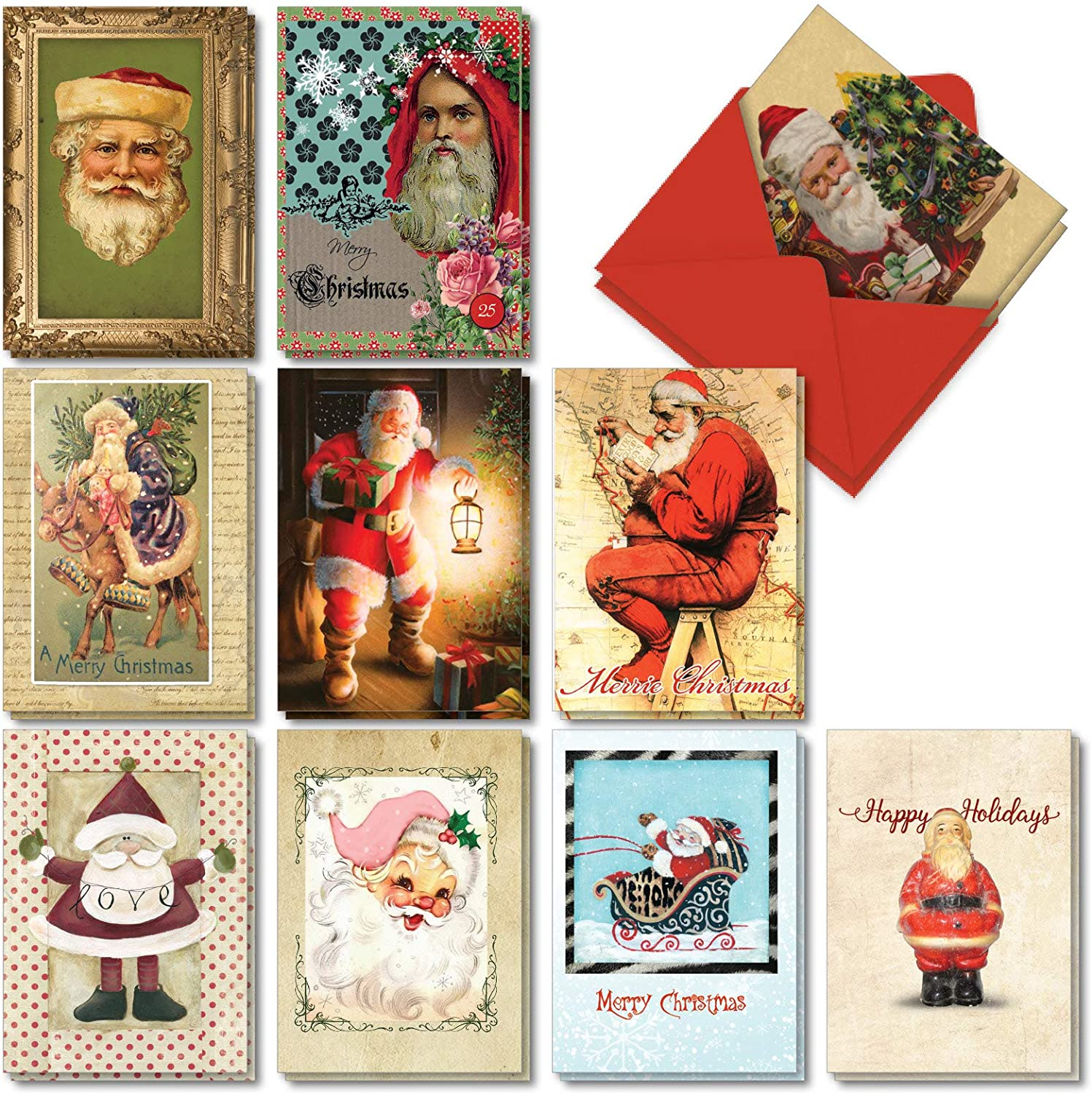 The Best Card Company - 20 Merry Christmas Cards Bulk (10 Designs, 2 Each) - Boxed Notecard Set, Fun Artistic Xmas Greetings - Stylish Santas AC7161XSG-B2x10
