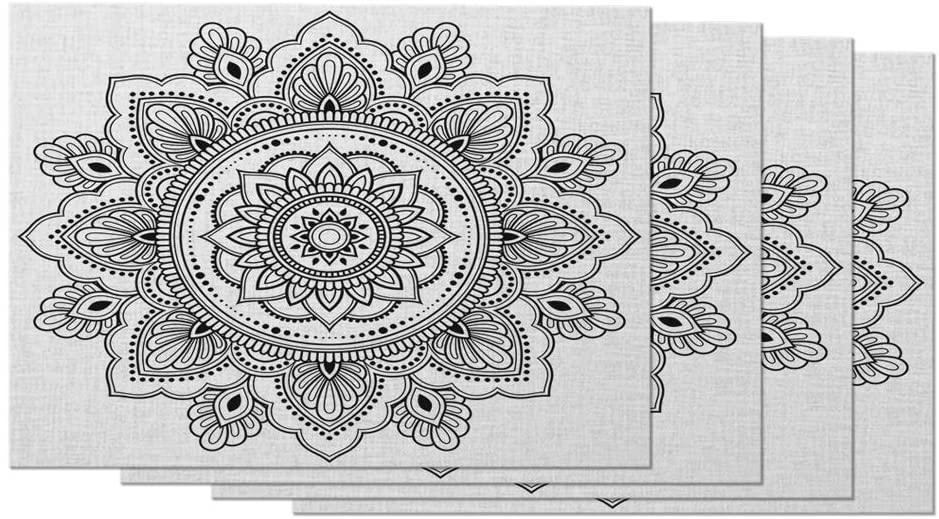 Moslion Bohemia Placemats Floral Circular Pattern Ethnic Oriental Style Abstract Tattoo Table Placemats for Dinning Table Washable Cotton Linen 12x18 Inch, Set of 4