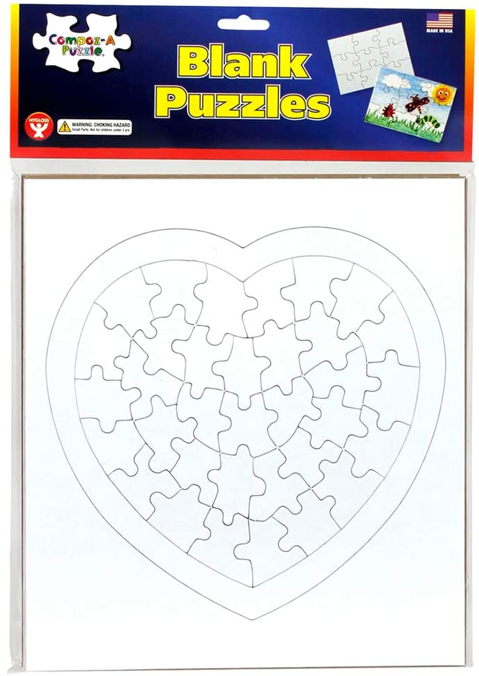 "Hygloss Products - Compoz-A-Puzzle - Heart Shape - Fun Activity - Great for Arts & Crafts - White & Sturdy - Surrounding Frame is 8.5"" x 9.5"" - 36 Puzzle Pieces, 6 Puzzles"