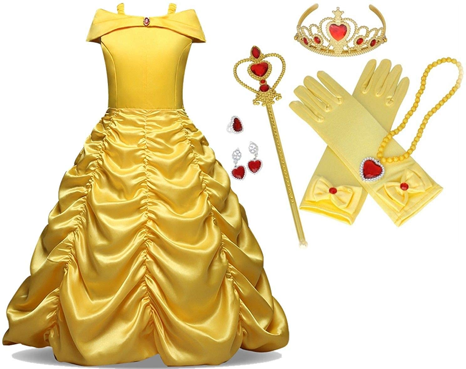 Little Kid Beauty Gown Princess Belle Costume Halloween Party Cosplay Girls 7 PC Dress Set, Size 9-10 Yellow