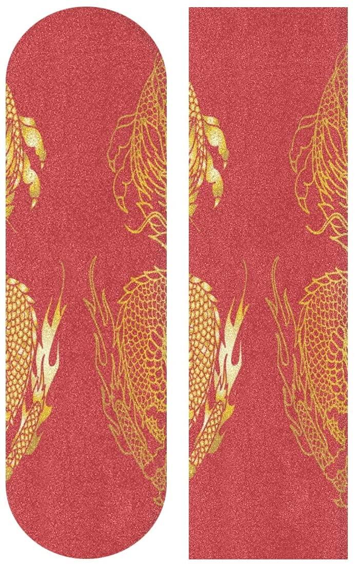 senya Skateboard Grip Tape Gold Japanese Dragon Tattoo Longboards Griptape Sandpaper for Rollerboard