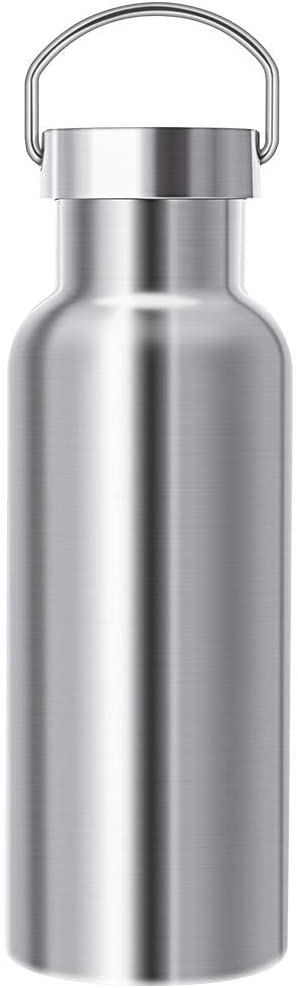 Gtell Stainless Steel Vacuum Insulated Water Bottle 34/25/20/17/12oz 18/8 for Hot and Cold Drinks, Double Walled, Leak Proof (Silver(17oz))