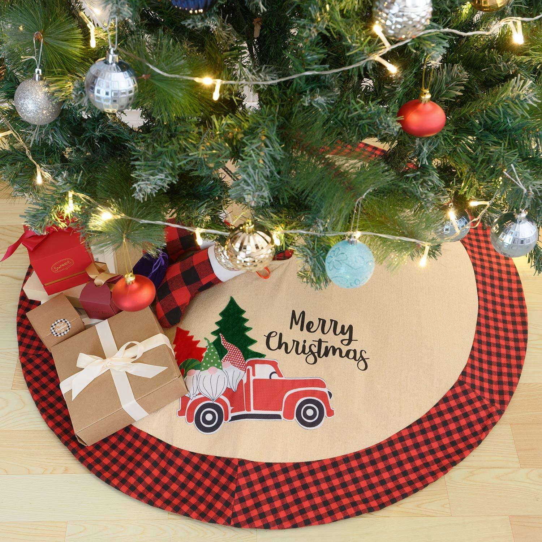 Christmas Tree Skirt 42 Inch Large Buffalo Plaid Burlap Tree Skirt Xmas Home Holiday Decorations