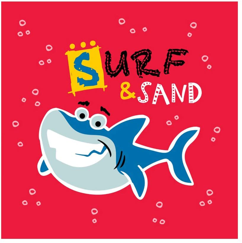 Baocicco 8x8ft Summer Party Backdrop for Photography Cartoon Shark Sand and Surf Bubbles Red Background Baby Shower Birthday Party Shark Party Sand Party Kids Portrait Studio Video Props