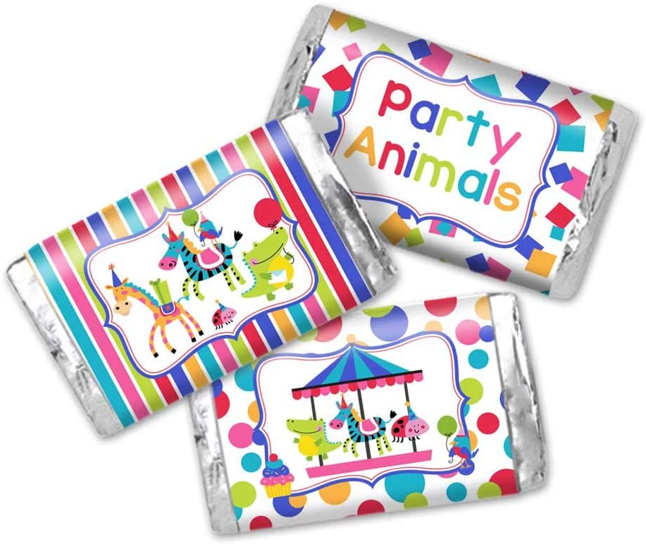 Party Animals Carousel Merry Go Round Themed Birthday Party Mini Chocolate Candy Bar Sticker Wrappers for Kids, 45 1.4
