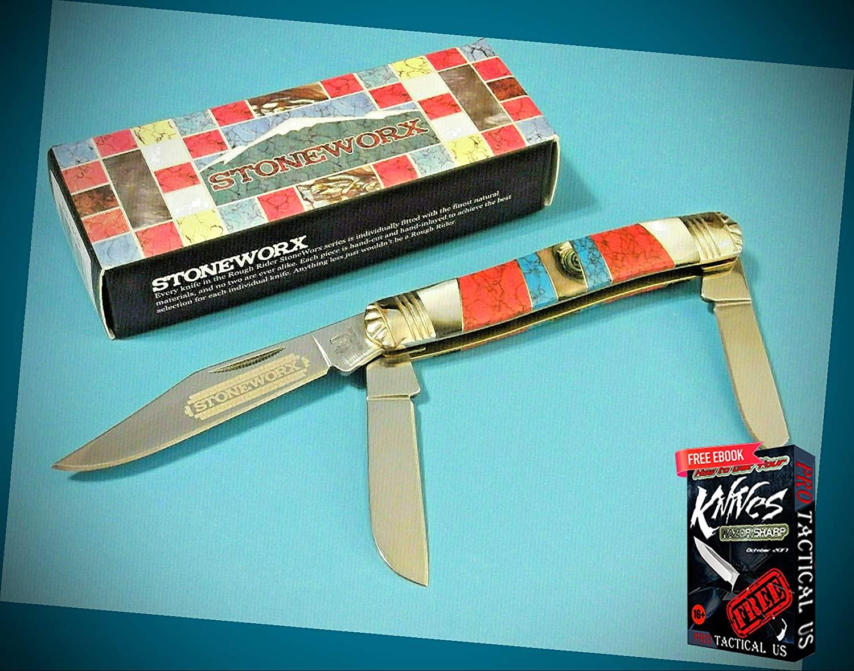 New ROUGH RIDER STONEWORX Stockman folding pocket Pro Tactical Knife 3 7/8