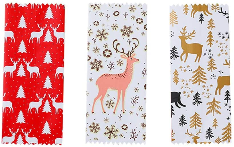 Amosfun Christmas Treat Bags Nougat Packaging Plastic Christmas Theme Deer Candy Wrappers Pouch Candy Cookie Treat Packing Bags Christmas Party Supplies 300pcs