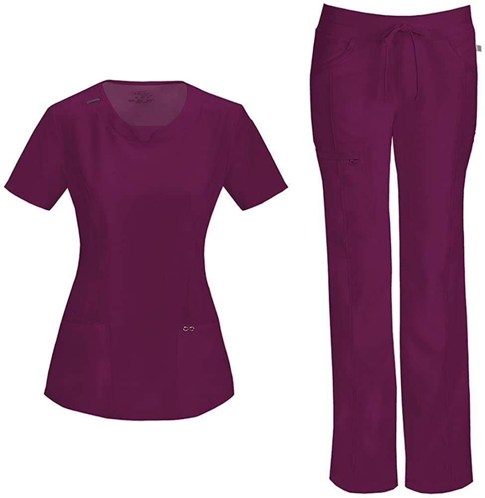 CHEROKEE Infinity Women's Scrub Set - 2624A Round Neck Top & 1123A Low Rise Straight Leg Drawstring Pant (Wine - Medium/Large)