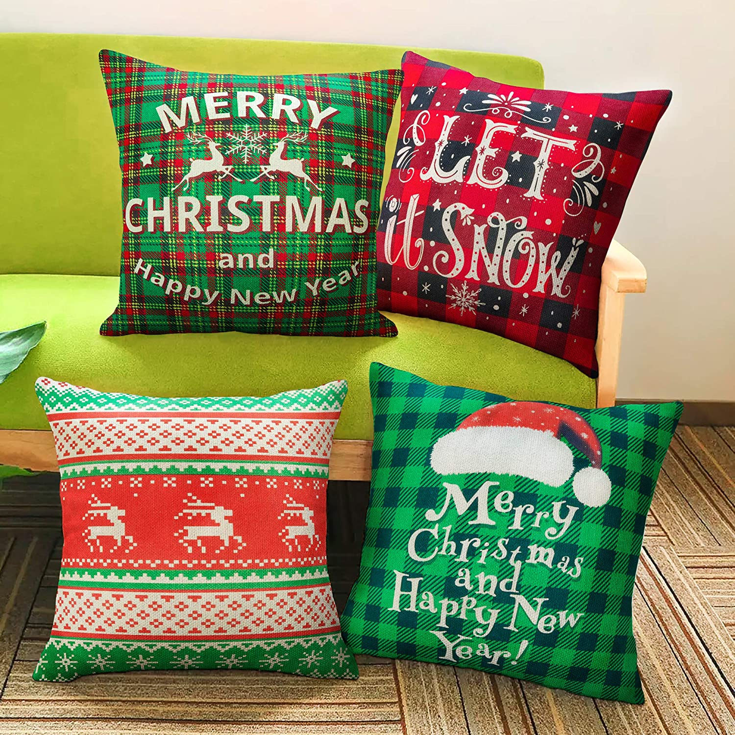 BININBOX Christmas Throw Pillow Covers Decorative Pillow Cover 4 Set 18x18 Inches Linen Christmas Pillowcase Red&Green Plaid Deer Red Buffalo Plaid Pillow Covers