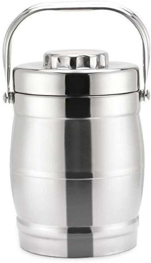 Lunch Containers 3 Tiers Thermos Containers Stainless Steel Thermal Insulated Food Container Warmer Flask Soup Lunch Box Silver 2.2L
