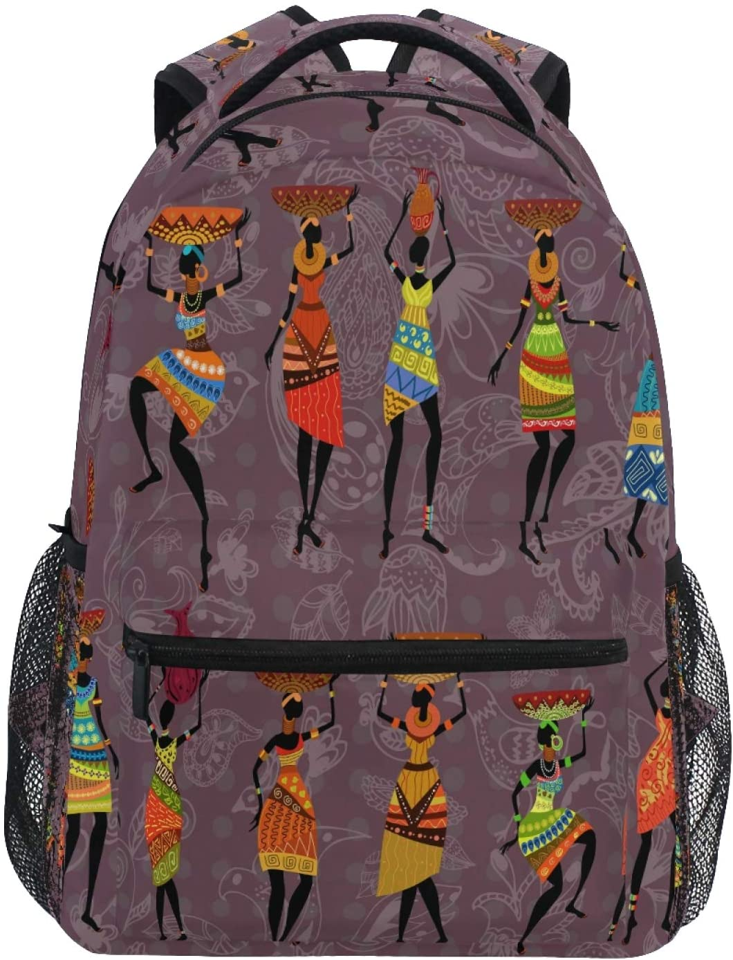 Ombra Backpack African Tribal Women School Shoulder Bag Large Waterproof Durable Bookbag Laptop Daypack for Students Kids Teens Girls Boys Elementary