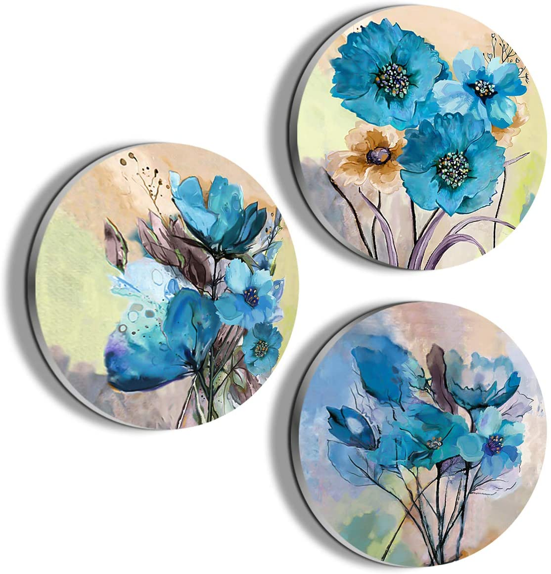 Wall art for dining room blue flower painting wall decor Oil Painting Canvas Prints for Home Decorations to Hang for Bathroom Bedroom Living Room Kitchen Wall Round Decor