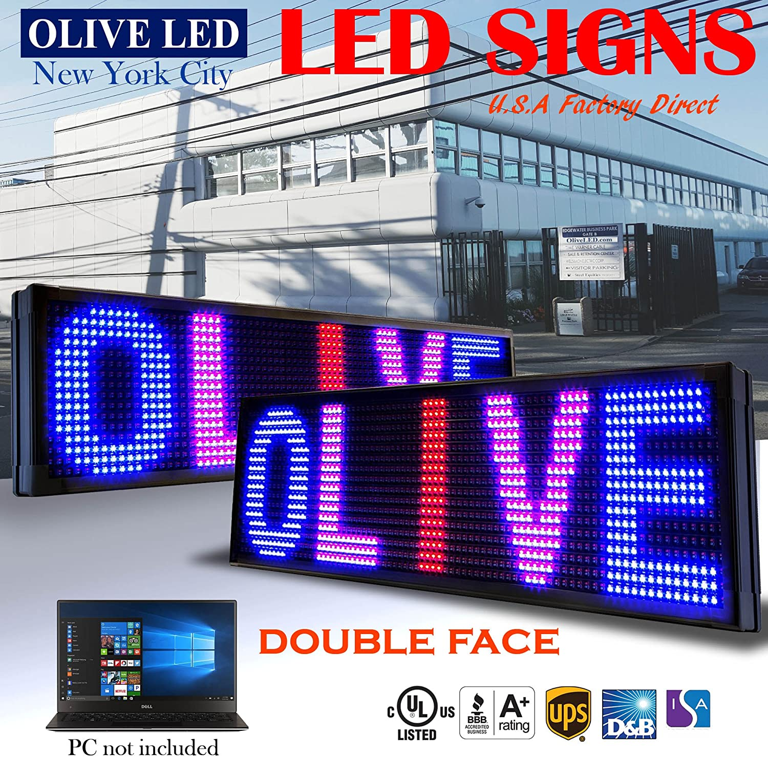 OLIVE LED Sign 3Color, RBP, 2Face, P26, 19