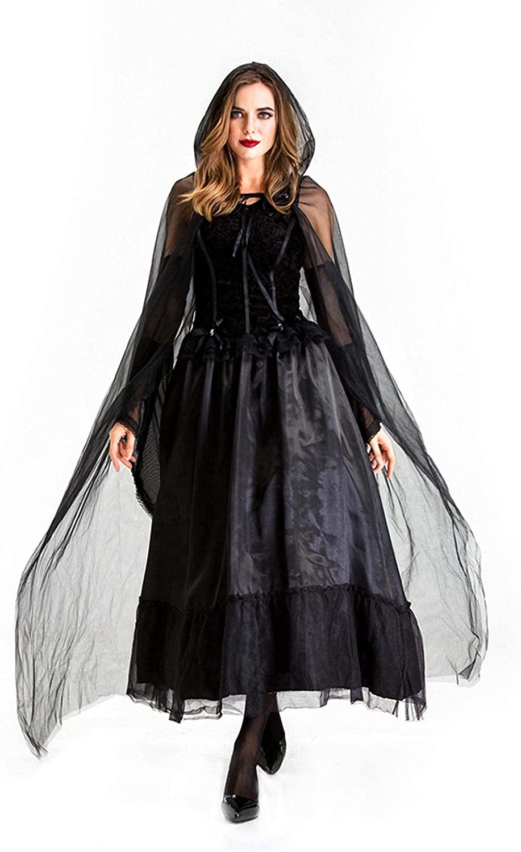 Halloween Cosplay Costume, Halloween Women's Black Hooded Cape Cloak with Dress and Sleeve