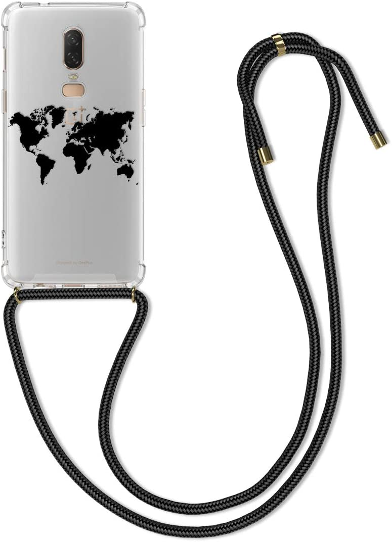 kwmobile Crossbody Case Compatible with OnePlus 6 - Clear TPU Cell Phone Mobile Cover Holder with Neck Cord Lanyard Strap - Travel Outline Black/Transparent