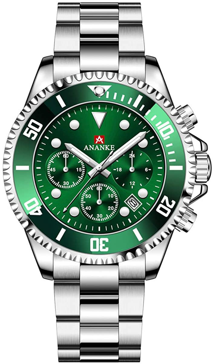 ANANKE Mens Watch Fashion Classic Waterproof Stainless Steel Multi-Functional Chronograph Quartz Watch with Calendar for Men