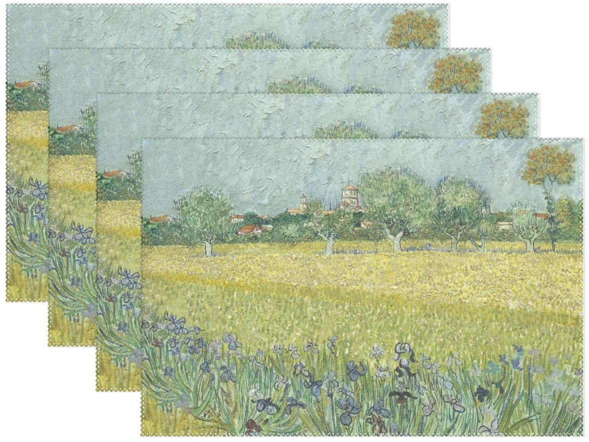 Holisaky Decoration Placemats Set of 4 Van Gogh View of Arles with Irises in The Foreground Placemat for Dining Table Heat Resistant Non-Slip Kitchen Table Mats Easy to Clean