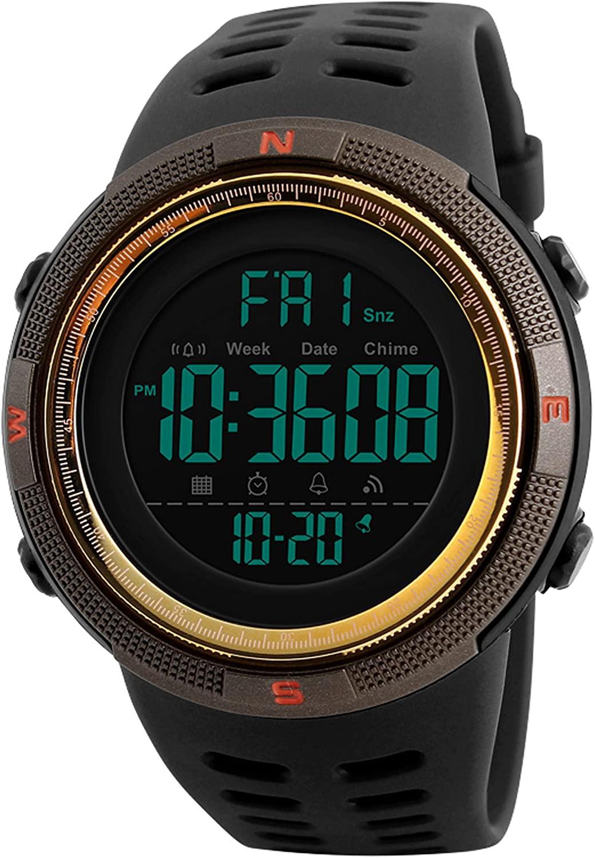 Mens Big Face Gold Fashion Sports Casual Chronograph Black Digital Watches