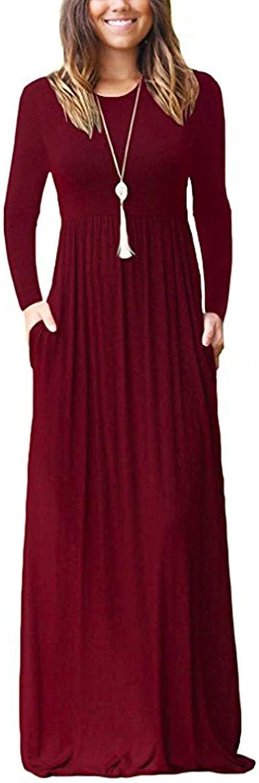 Women's Long Sleeve with Pockets Loose Plain Casual Long Maxi Long Dresses D1A