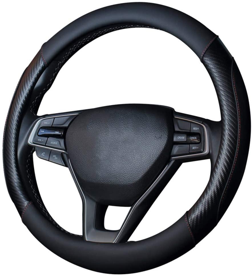YOGURTCK Microfiber Leather Steering Wheel Cover, Breathable, Anti-Slip, Odorless, Universal 15 Inch, Fit Vehicles, SEDANS, SUVS, Vans, Trucks - Black Red