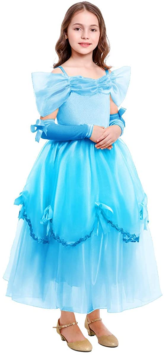 Little Girls Dress up Princess Cosplay Christmas Costume Kids Long Maxi Gown Party Fancy Clothes