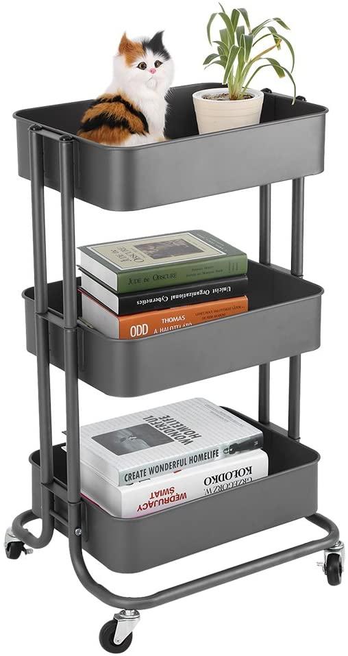TOPINCN 3 Tiers Storage Rack Trolley Cart Slim Rolling Trolley with Wheels Kitchen(Grey)