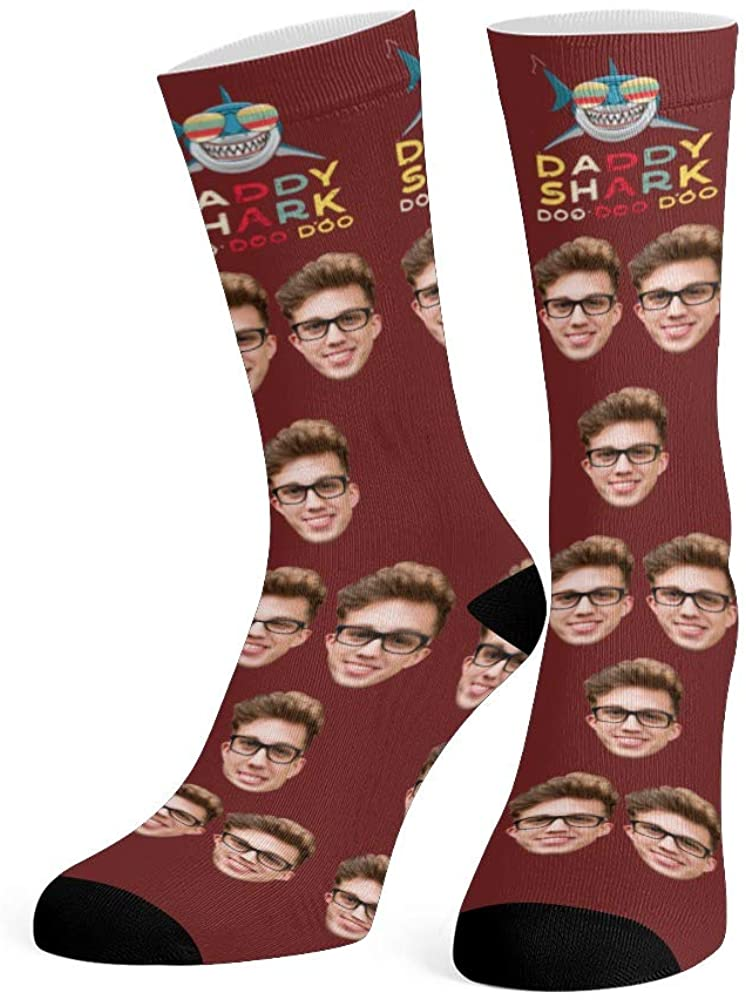Custom Face Socks with Photo Personalized Daddy Shark Crew Socks for Men Women