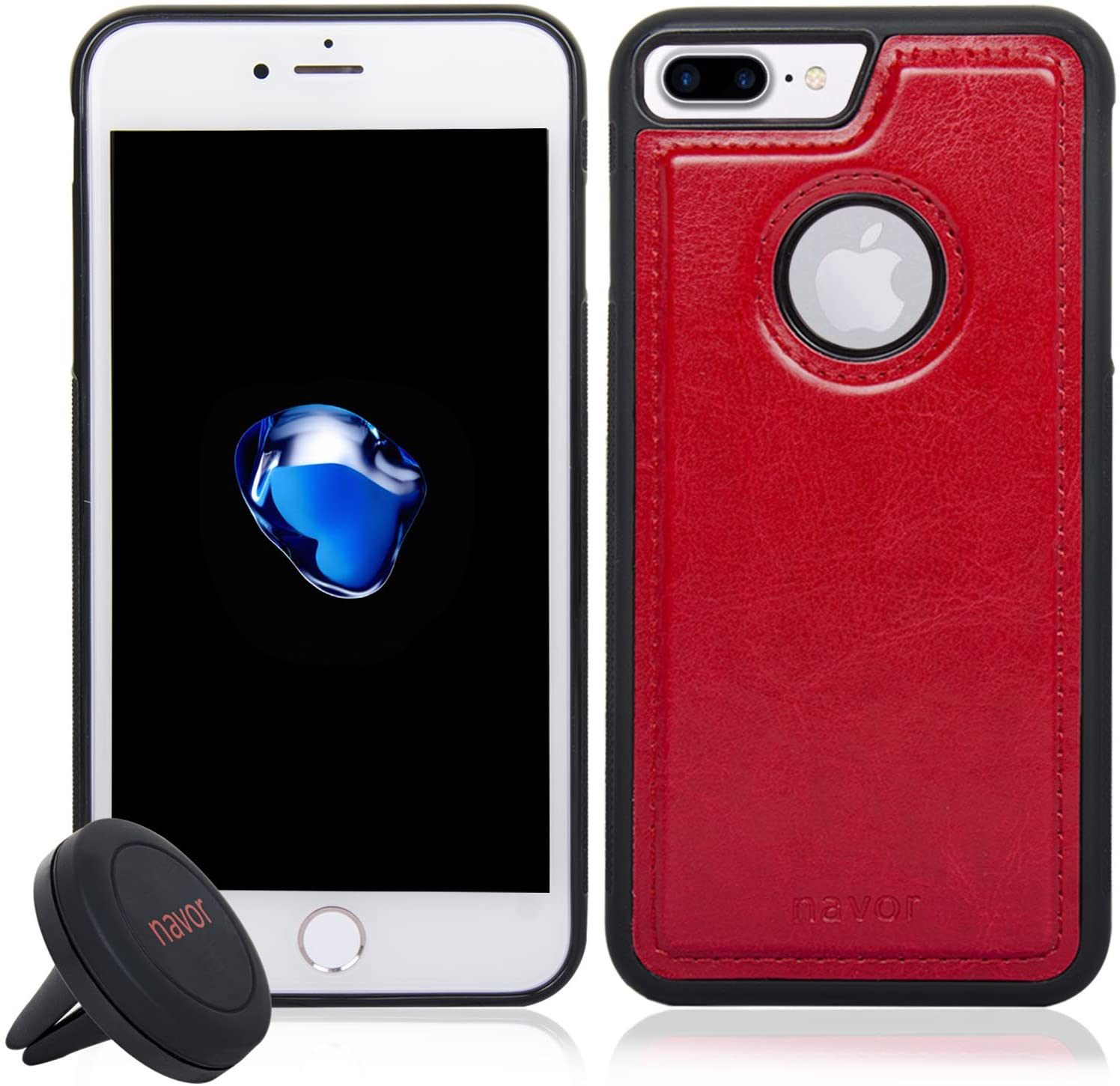 NAVOR Car Mount and iPhone 7 Plus Magnetic Detachable Protective Case [Apple Logo Hole]-Red