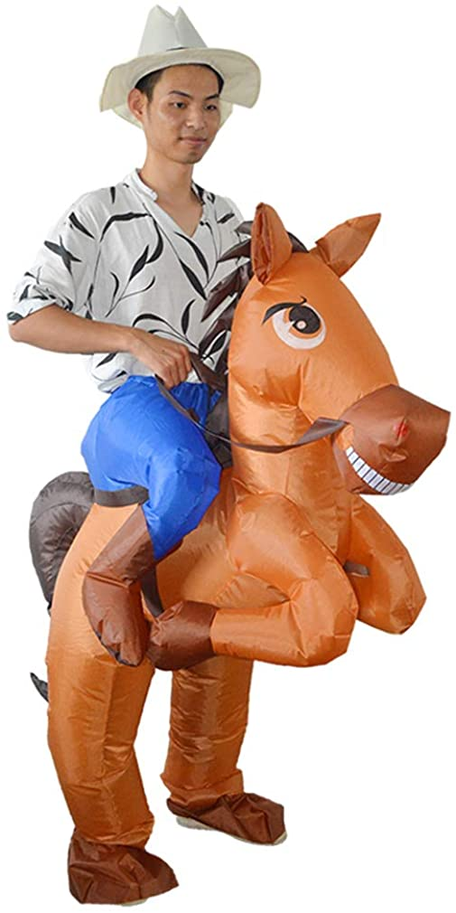 SIREN SUE an Animal-Shaped Inflatable Riding Horse Costume Cosplay for Halloween Performances Dark Brown