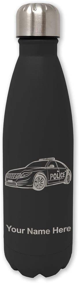 LaserGram Double Wall Stainless Steel Water Bottle, Police Car, Personalized Engraving Included