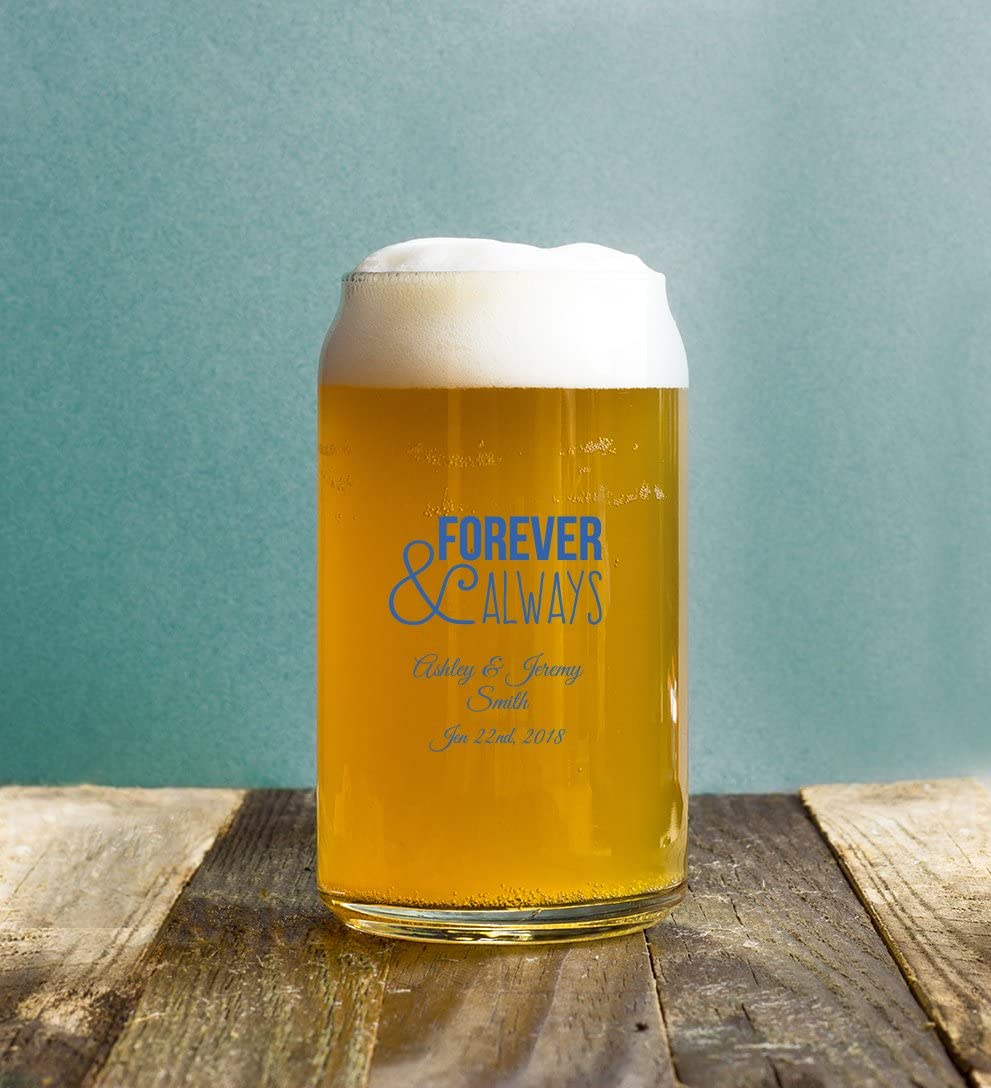 24 Pack Forever and Always 16 Oz Pint Beer Can, Personalized Beer Mug Glass in Blue, Romantic Couples Wedding Reception Anniversary Favor