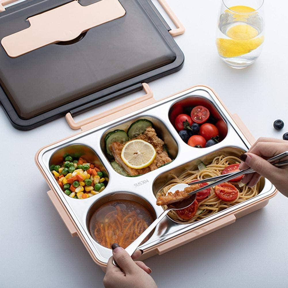 Large Bento Lunch Box, Leak-proof Stainless Steel Lunch Containers Box with 5 Compartments, Chopsticks and Spoon for School, Work(Fresh Brown, 11.42x9.06x2.36inch)