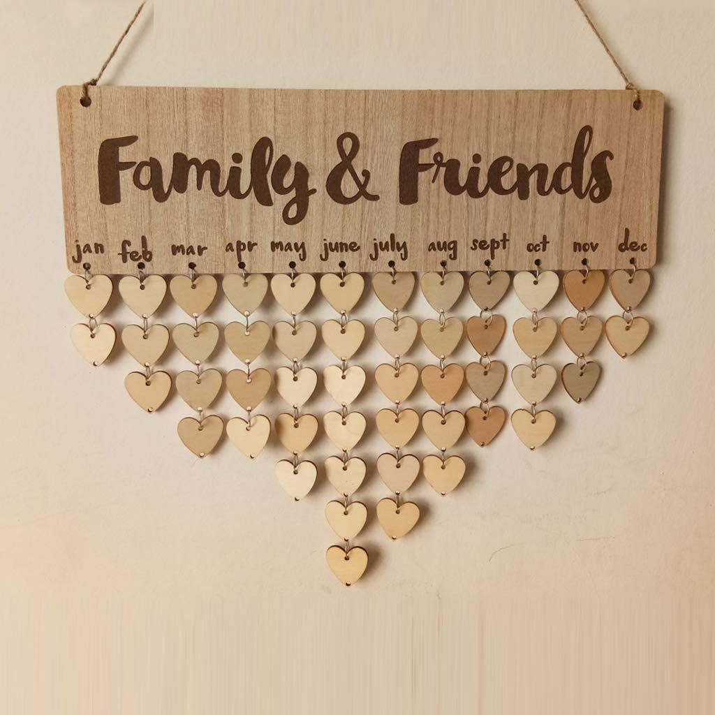 Yesok Family & Friends Birthday Reminder Calendar DIY Wall Hanging Wooden Calendar Board Plaque for Birthday Anniversary