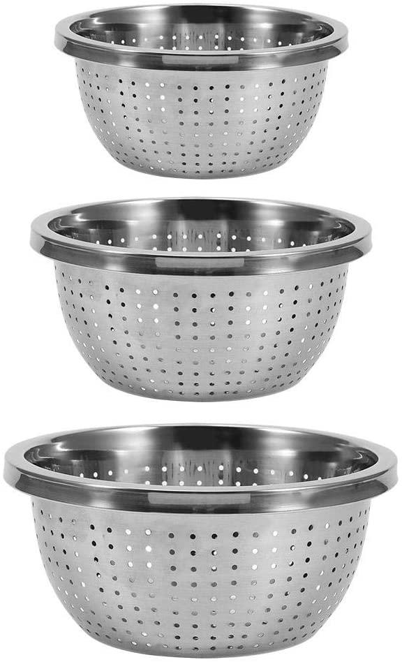 AUNMAS Rice Washing Bowl Stainless Steel Rice Sieve Rice Washing Filter Strainer Basket Drainer Kitchen Cleaning Gadge 3Pcs