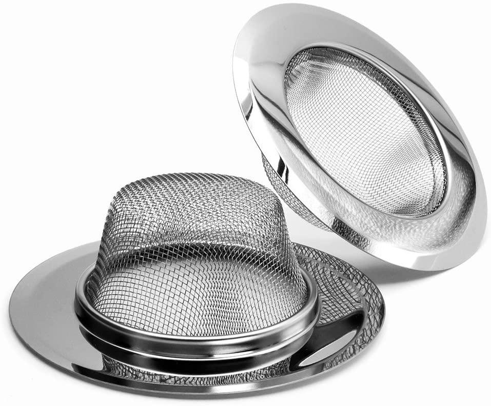 2PCS Kitchen Sink Strainer -Stainless Steel, Mesh Metal Sink Strainer, Large Wide Rim 4.5