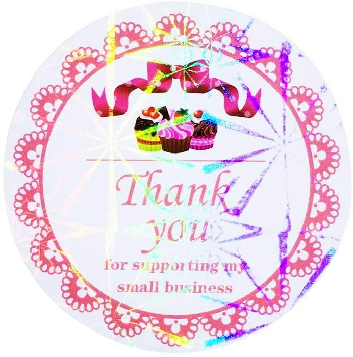 2 Inch 960 Labels Thank You for Supporting My Small Business, 8 Designs, Wrapping Supplies Round Shape Adhesive Labels, Decorative Sealing Stickers for Christmas Gifts, Wedding, Party (Style-F)